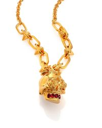 Alexander McQueen - Metallic Punk Rose Skull Pendant Necklace - Lyst