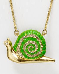 "kate spade new york - Green Lawn Party Snail Pendant Necklace, 36"" - Lyst"