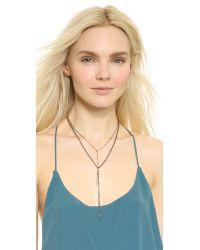 Serefina - Metallic Vintage Chain Y Rough Diamond Necklace - Silver - Lyst