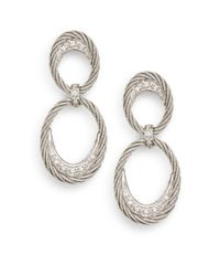 Charriol - Metallic Diamond Stainless Steel 18k White Gold Crescent Cable Link Earrings - Lyst