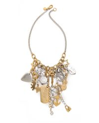 Marc By Marc Jacobs Metallic Heavy Metal Statement Necklace - Oro Multi