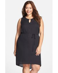 Lyssé | Black Belted Georgette Keyhole Dress | Lyst