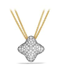 David Yurman | Metallic Quatrefoil Medium Pendant with Diamonds in Gold On Chain | Lyst