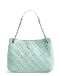 Tory Burch - Blue Marion Quilted Leather Tote - Lyst