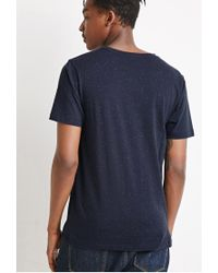Forever 21 - Blue Speckle-textured Pocket Tee for Men - Lyst
