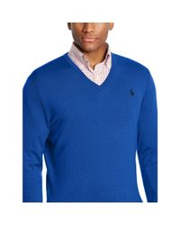 Ralph Lauren - Blue Merino Wool V-neck Sweater for Men - Lyst