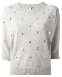 Autumn Cashmere Gray Skull Crosses Embellished Sweater