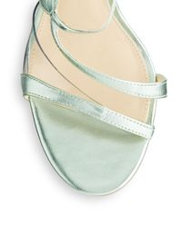 Ivanka Trump - Green Adara Metallic Leather Strappy Sandals - Lyst