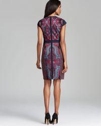 Adrianna Papell - Multicolor Cap Sleeve Print Block Dress - Lyst