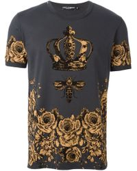 Dolce & Gabbana Gray Floral Bee And Crown Print T-shirt for men
