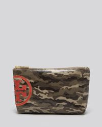 Tory Burch Green Cosmetic Case Canvas Small Slouchy