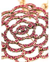 Oscar de la Renta | Pink Pavé Flower Pendant Necklace | Lyst
