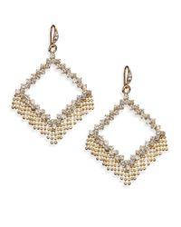 ABS By Allen Schwartz | Metallic Geometric Fringe Drop Earrings | Lyst