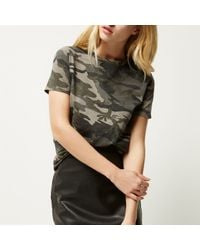 River Island Multicolor Khaki Camo Fitted T-shirt