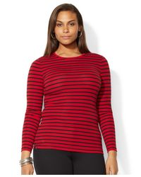 Lauren by Ralph Lauren - Red Plus Size Long-Sleeve Striped Top - Lyst