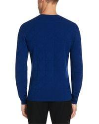 HUGO - Blue 'sonur' | Cotton Virgin Wool Geo Pattern Sweater for Men - Lyst