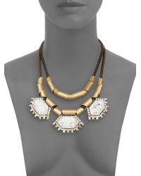 Saks Fifth Avenue - Metallic Howlite Chain Statement Necklace - Lyst