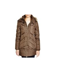 Sam Edelman - Brown Faux Fur-trim Puffer Jacket - Lyst