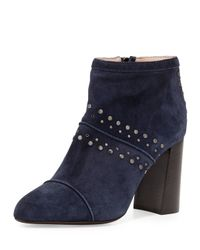Lanvin - Blue Studded Suede Ankle Boots - Lyst