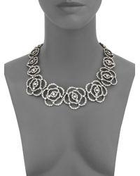 Oscar de la Renta | Metallic Pavé Crystal Flower Cutout Necklace | Lyst