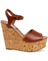 Steve Madden Brown Women's Korkey Two-piece Platform Wedge Sandals