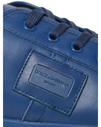 Dolce & Gabbana Blue Uk Logo Plaque Nappa Leather Sneakers for men