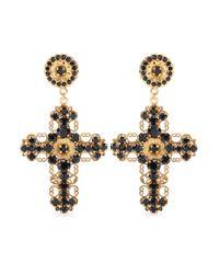 Dolce & Gabbana | Metallic Crystalembellished Cross Clipon Earrings | Lyst
