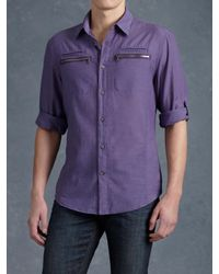 John Varvatos Purple Zipper Pocket Sport Shirt for men