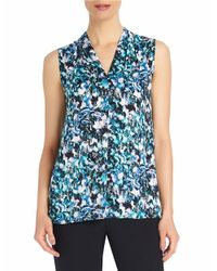 Ellen Tracy | Blue Printed Mixed Media Top | Lyst