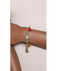 Tai - Multicolor Hamsa Pom Pom Beaded Bracelet - Gold Multi - Lyst