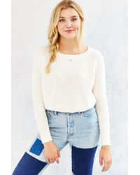 Kimchi Blue White Off-shoulder Cropped Sweater