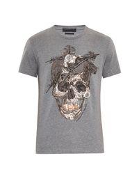 Alexander McQueen Gray Skull-Print T-Shirt for men