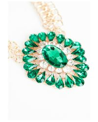 Missguided | Green Megana Oversized Gem Statement Necklace | Lyst