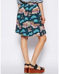 NW3 by Hobbs Blue Country Skirt In Japanese Kimono Print