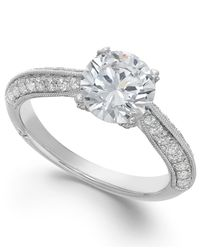 Marchesa Metallic Classic By Certified Diamond Engagement Ring In 18k White Gold (1-3/8 Ct. T.w.)