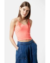 TOPSHOP | Pink V-Neck Rib Camisole | Lyst