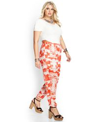 Forever 21 - Red Crosshatch Woven Joggers - Lyst