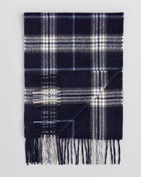 Bloomingdale's Blue Plaid Cashmere Scarf for men