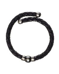 Black.co.uk | Oberon Tahitian Black Pearl, Silver And Leather Bracelet for Men | Lyst