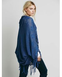 Free People | Blue Skemo Womens Crochet Fringe Cocoon | Lyst