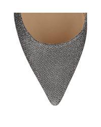 Jimmy Choo Gray Aza Anthracite Lamé Glitter Fabric Pointy Toe Pumps