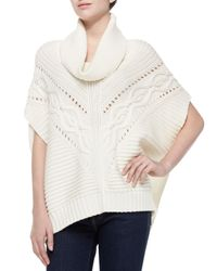 Trina Turk White Amarisa Cable-Knit Cowl-Neck Sweater