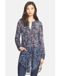 Tracy Reese | Blue Pintuck Print Silk Tunic | Lyst