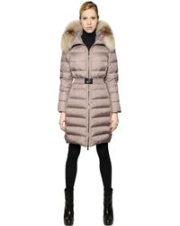 Moncler Natural Fabrefox Nylon & Micro Lux Down Coat