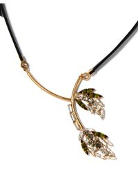 Marni - Metallic Green Crystal Flower Leather Tie Necklace - Lyst
