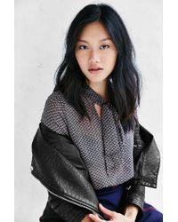 Kimchi Blue Black Olivia Tie-neck Blouse