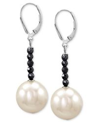 Majorica | Metallic Sterling Silver Man-made Pearl (14mm) And Hematite Bead Drop Earrings | Lyst