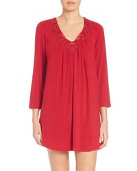 Oscar de la Renta - Red Jersey-knit Sleepshirt - Lyst