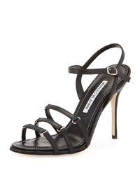 Manolo Blahnik Black Maggio Strappy Leather Sandal