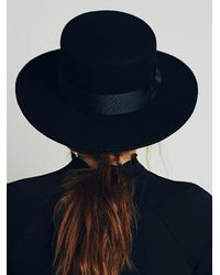 Free People | Black Lack Of Colour Womens Classic High Crown Boater | Lyst